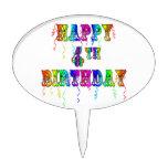 Happy 4th Birthday Cake Topper Cake Pick