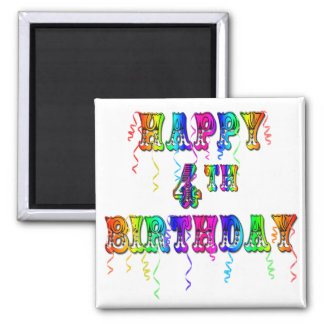 Happy 4th Birthday Circus Font 2 Inch Square Magnet