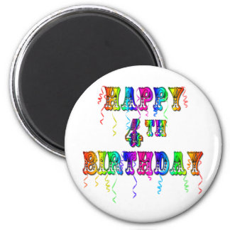 Happy 4th Birthday Circus Font 2 Inch Round Magnet