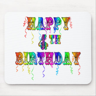 Happy 4th Birthday Circus Font Mouse Pad
