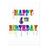 Happy 4th Birthday Circus Font Postcard