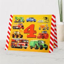 Happy 4th Birthday Construction Trucks Card