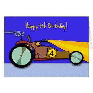 Happy 4th Birthday, Dune Buggy Race Car at Night Card