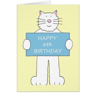 Happy 4th Birthday, fluffy white cat. Card