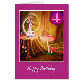 Happy 4th Birthday for girl with fairy fourth Greeting Card