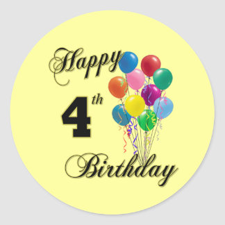 Happy 4th Birthday Gifts and Birthday Apparel Classic Round Sticker