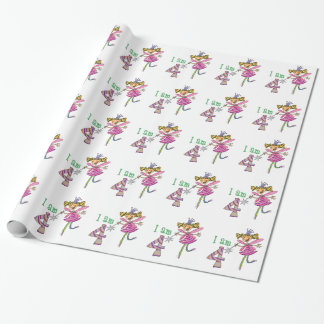 Happy 4th birthday girl (pink princess fairy) wrapping paper