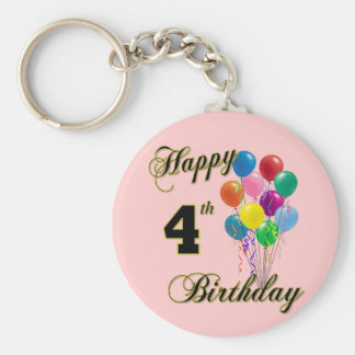 Happy 4th Birthday Keychain and Birthday Apparel