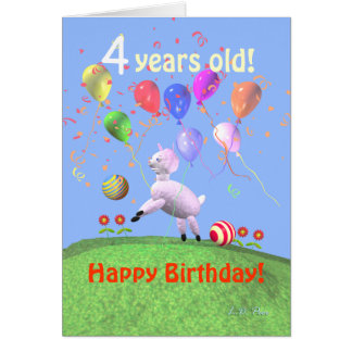 Happy 4th Birthday Lamb and Balloons Card