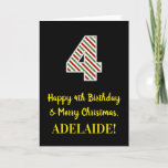[ Thumbnail: Happy 4th Birthday & Merry Christmas, Custom Name Card ]