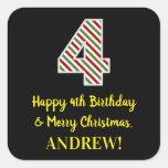 [ Thumbnail: Happy 4th Birthday & Merry Christmas, Custom Name Sticker ]