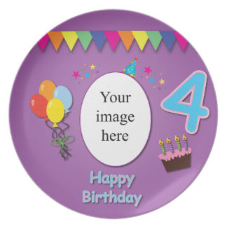 Happy 4th Birthday Plate with Your Photo