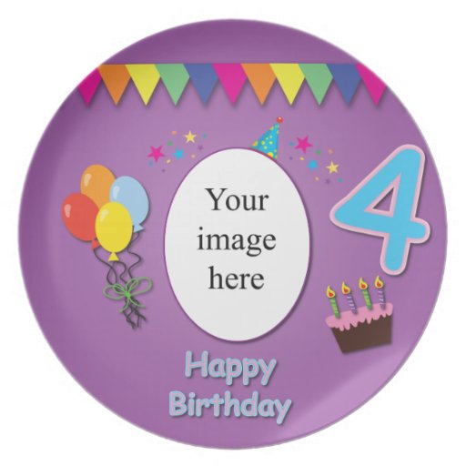 Happy 4th Birthday Plate With Your Photo Zazzle