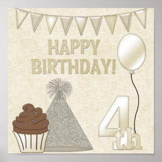 Happy 4th Birthday Poster Print