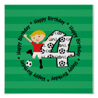 Happy 4th Birthday Round Soccer Goal Coaster Poste Poster
