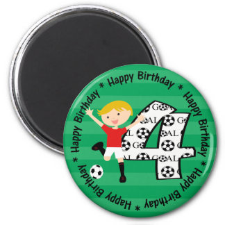 Happy 4th Birthday Round Soccer Goal Magnet