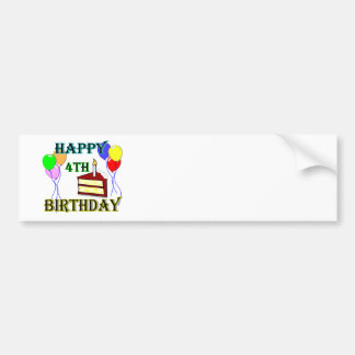 Happy 4th Birthday with Cake, Balloons and Candle Bumper Sticker