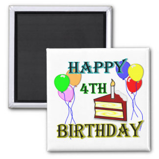 Happy 4th Birthday with Cake, Balloons and Candle 2 Inch Square Magnet