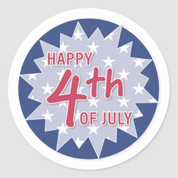 USA Themed Happy 4th, Blue and Red Classic Round Sticker