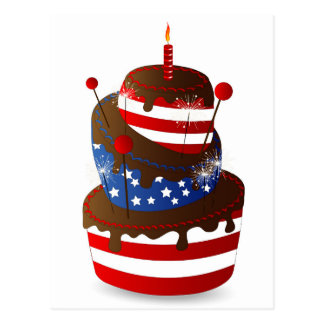 Happy 4th celebration cake postcard