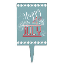 Happy 4th Fireworks ID185 Cake Topper