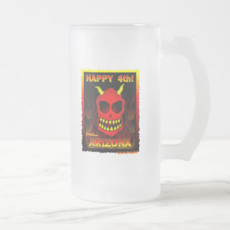 HAPPY 4th! Frosted Glass Beer Mug
