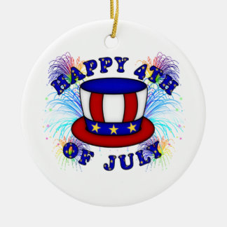 Happy 4th July Crackers Ceramic Ornament