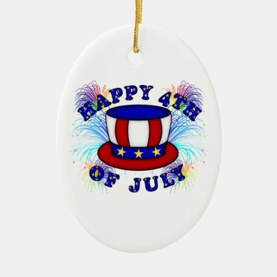 Happy 4th July Crackers Ceramic Ornament