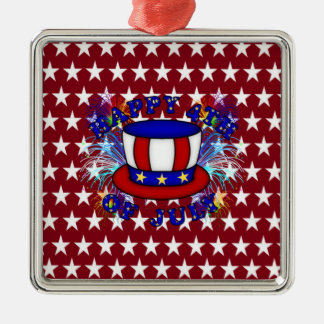 Happy 4th July Crackers Metal Ornament