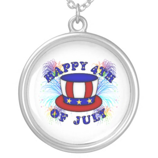 Happy 4th July Crackers Round Pendant Necklace