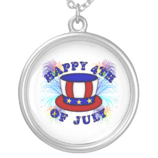 Happy 4th July Crackers Silver Plated Necklace