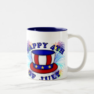 Happy 4th July Crackers Two-Tone Coffee Mug