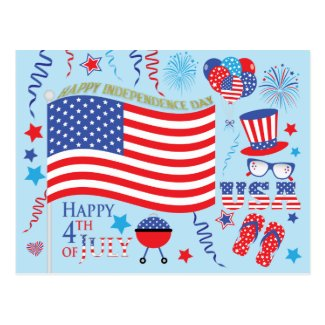 Happy 4th July Stars and Stripes Graphics/blue Postcard