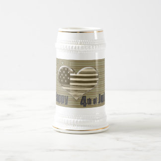 Happy 4th July USA flag and heart Beer Stein