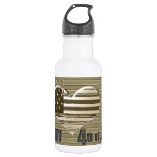 Happy 4th July USA flag and heart Water Bottle