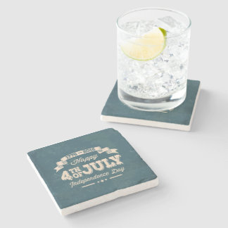 Happy 4th July Vinage Style Marble Drinks Coasters