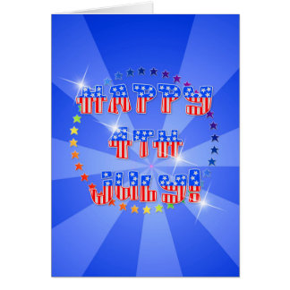 happy 4th July with sunburst and stars Card
