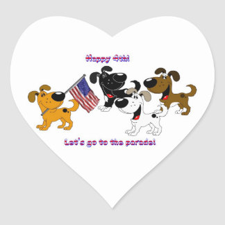 Happy 4th! Let's go to the parade! Heart Sticker