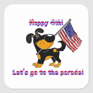 Happy 4th! Let's go to the parade! Square Sticker