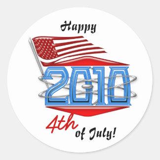 Happy 4th of July 2010 American Flag Sticker