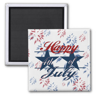 Happy 4th of July 2 Inch Square Magnet