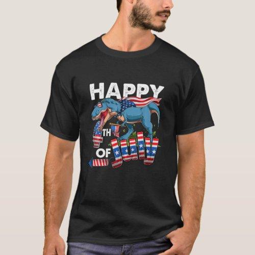 Happy 4Th Of July America Saurus Firework USA Flag T_Shirt