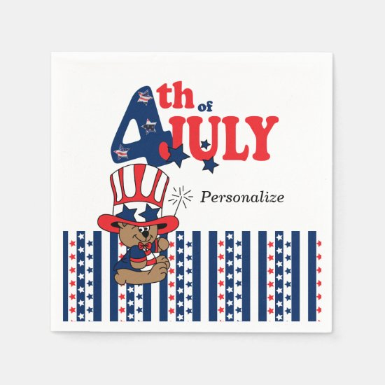Happy 4th of July American Bear Paper Napkin