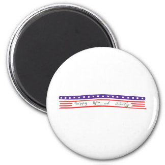 Happy 4th of July American Flag 2 Inch Round Magnet