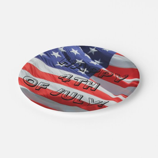 Happy 4th of July, American Flag Plate, Fourth USA Paper Plate