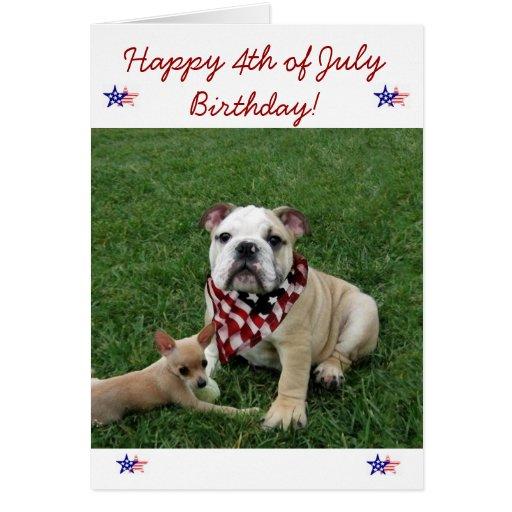 Happy 4th of July Birthday bulldog greeting card