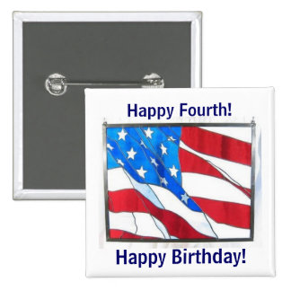 Happy 4th-of-July Birthday! Button