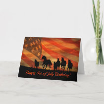 Happy 4th Of July Birthday Card Horses And Flag