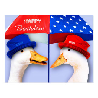 Happy 4th of July Birthday. Funny Ducks Postcards