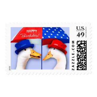 Happy 4th of July Birthday. Funny Ducks Stamps